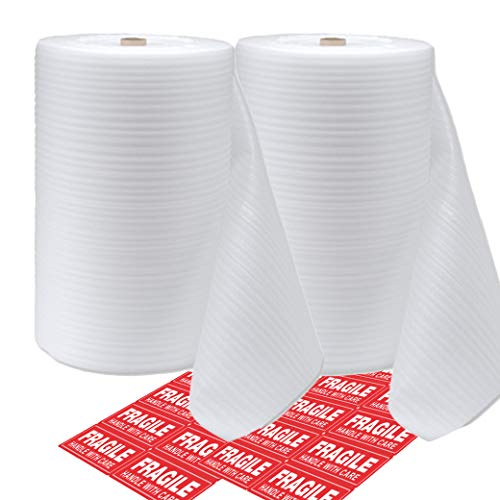 "Mighty Gadget (R) Foam Wrap Rolls 12"" Wide x 50 Feet x 2 Rolls (Total 100 Feet) for Cushioning Moving Packing (Perforated Every 12"") and 20 Fragile Stickers Labels Included"