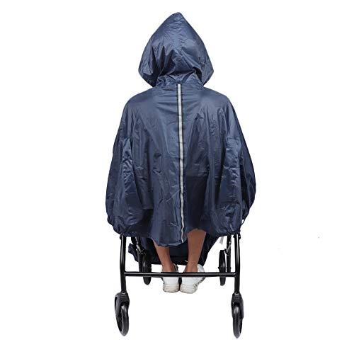 Hooded Wheelchair Rain Cover, Nylon Waterproof Soft Reusable Wheelchair Rain Coat Blue Rain Cape Wheelchair Waterproof Poncho Raincoat with Back Slot for Self-propelled Wheelchair