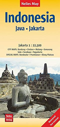 Nelles Map Landkarte Indonesia : Java, Jakarta: 1 : 750,000 / 1 : 22,500 | reiß- und wasserfest; waterproof and tear-resistant; indéchirable et ... & impermeable (Nelles Map / Strassenkarte)