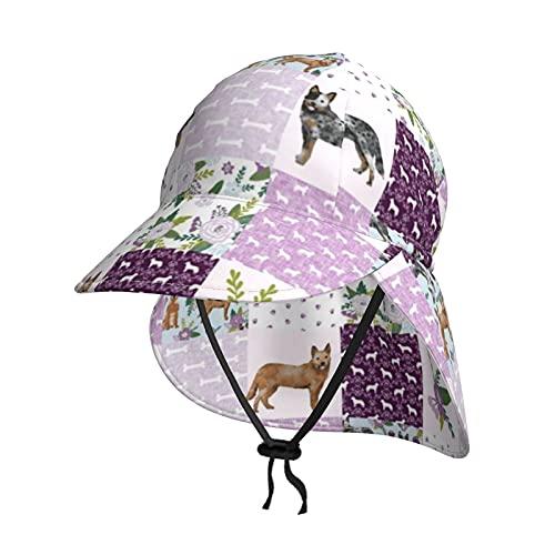 Cocoal-ltd Sombrero de sol para niños con protección UV para bebés con solapa de verano UPF50+, sombrero de playa al aire libre, gorro de pesca para niños, niñas, perro de ganado australiano