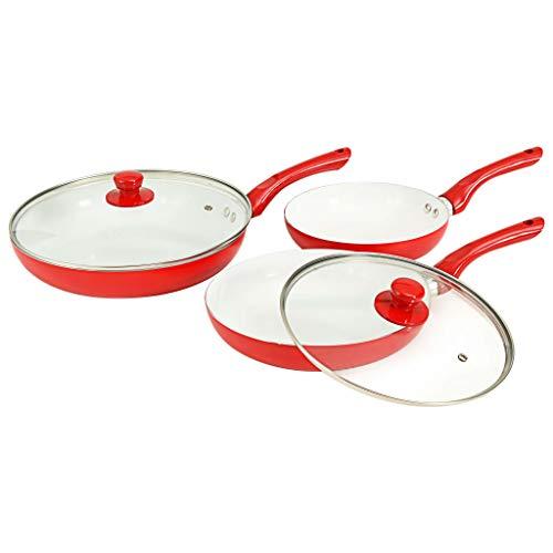 vidaXL Ensemble d'Ustensiles de Cuisine 5 pcs Cuisson Poêle à Frire Casserole Résistant à la Chaleur Durable Robust Maison Restaurant Rouge Aluminium