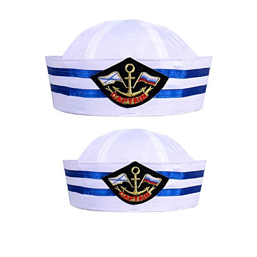 Sailor Hat Navy Yacht Captain Hat Blue with White Sail Hat for Costume Accessory for Costume Party Supplies,Adults & Kids(2 Pieces)