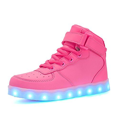 Voovix Kinder High-top LED Licht Blinkt Sneaker mit Fernbedienung-USB Aufladen Led Schuhe für Jungen und Mädchen (Rosa, EU28/CN28)