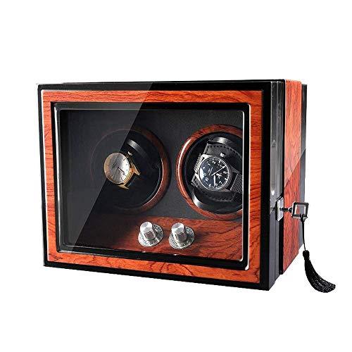 2自動時計ワインダー、ダブル時計収納陳列ケースボックス静かなマブチモーター内蔵LEDランプ時計ボックスを備えた4回転モード