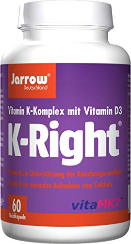 K-Right, Vitamin K-Komplex und Vitamin D, Vitamin K1, MK-4, MK-7, Vitamin D3, 60 Weichkapseln,...
