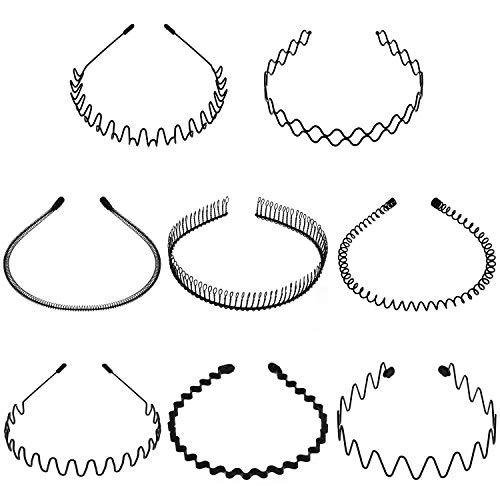 8 Pieces Metal Headbands Unisex Hair Bands Black Wavy Spring Headband NonSlip Metal Hair Hoop for Women Men Sports Hair Accessories