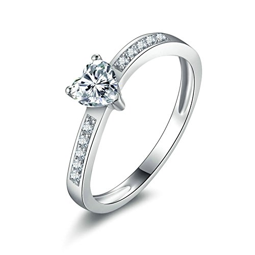 Adokiss Anillo de compromiso de plata 925, anillos de compromiso y boda, talla 53 (16,9)