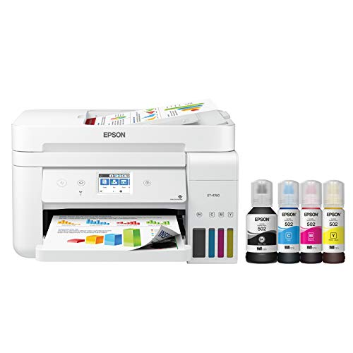 Epson EcoTank ET-4760 Wireless Color All-in-One Cartridge-Free Supertank Printer with Scanner, Copier, Fax, ADF and Ethernet - White, Large (Renewed)