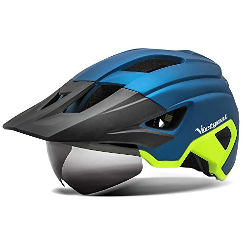 Victgoal Bike Helmet for Men Women Adults with Magnetic Goggles and Sun Visor Bicycle Helmet MTB Mountain Road Cycle Helmet with Rechargeable Rear Light (Blue Yellow)
