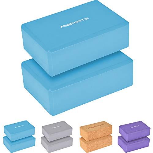 MSPORTS Yogablock Premium I auswählbar 1x Yogablock oder 2er Pack - Yogaklotz (Cyan, 2X Yogablöcke)