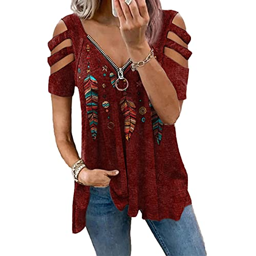 Janepam Women Summer Tops Short Sleeve Feather Graphic Print Cold Shoulder Boho Ethnic Zip Low-Cut Loose V-Neck Tee T-Shirt(B-Red,M)