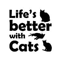 拓実-たくみ 琢磨 わたる 15.1X15CM生命のより良いの猫おかしいカーウィンドウデカールビニール車ステッカー子猫ペットブラック/シルバー (Color Name : Black)