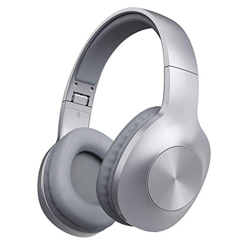 LETSCOM Bluetooth Headphones, 100 Hours Playtime Bluetooth 5.0 Headphones Over Ear with Deep Bass, Hi-Fi Sound and Soft Earpads, Built-in Mic, Wired/Wireless Headset for Home Office-Silver