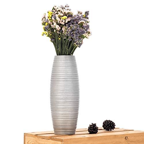 Leewadee Kleine Bodenvase für Dekozweige hohe Standvase Design Holzvase, 15x41 cm, Mangoholz, Silber