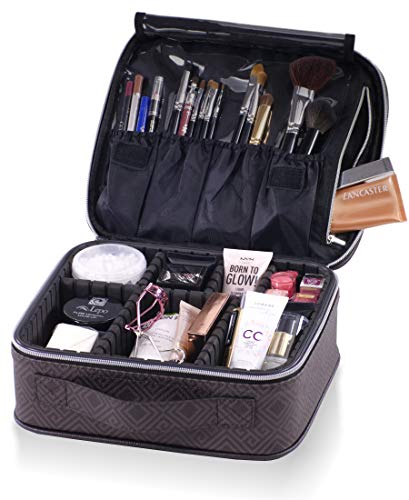 Travel Makeup Bag. Designer Cosmetic Organizer Bag with Compartments & Adjustable Dividers. Portable Vegan Leather Artist Train Case for Cosmetics Brushes Toiletries & Accessories Silver & Black
