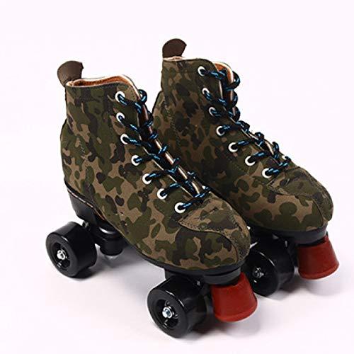 WEDSGTV Sporting Rollschuhe,Komfortables Und Atmungsaktives Zweireihige Skates,Für Mädchen Und Jungen,Green-41
