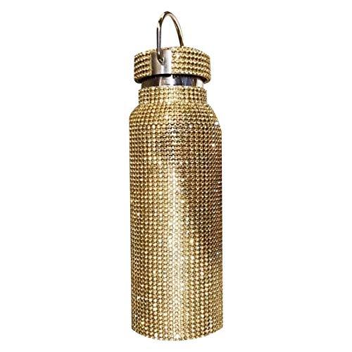 fuchsiaan Botella de agua, con aislamiento de diamantes de imitación, botella de acero inoxidable, frasco de beber, 750 ml, color dorado