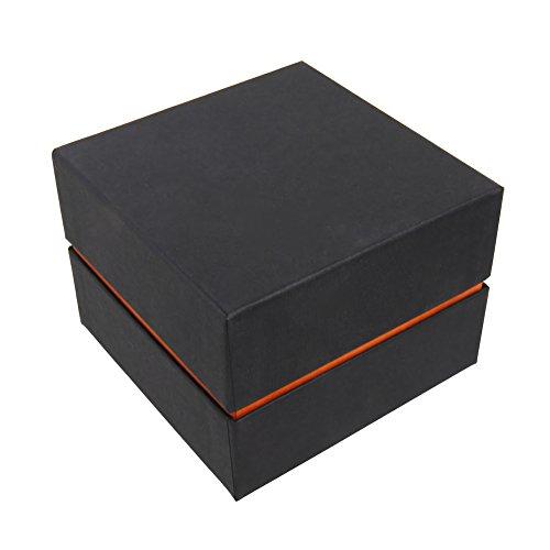 hochwertige Karton Schmuck Etuis Schmuckdose Uhrenbox Box für Uhren Armbanduhren Armbänder Schmuck Geschenk schwarz orange 10x10x7cm
