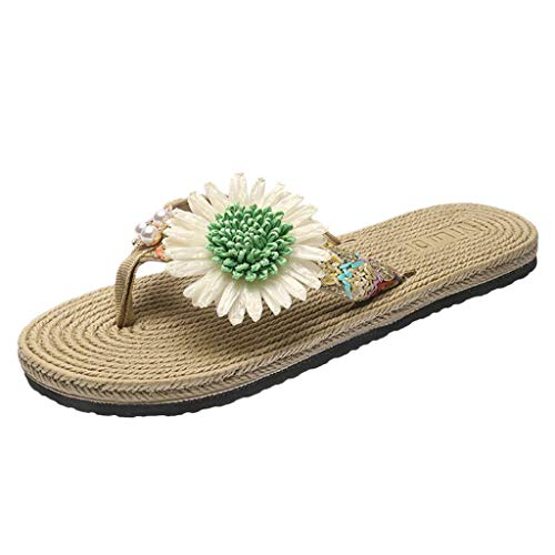 Sandalen Hausschuhe Damen Wohnungen Flip-Flops Open Toe Bequeme Strohschuhe (35,Grün)