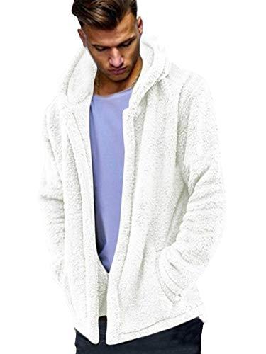 ShallGood Uomo Cappotto Autunno Inverno Casual in Pelliccia Sintetica Caldo Classico Felpe con Cappuccio Elegante Faux Maniche Lunghe Giacca Outwear con Tasche Bianco Large
