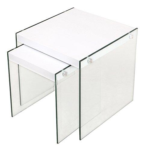 CRIBEL Pocket Bureau, Bois Multicouche/Verre trempé, laqué Blanc, 120 x 80 x 76 cm