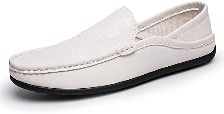 LOVDRAM Men'S Leather shoes Autumn Men'S Casual Peas shoes Fashion Breathable Driving Men'S Fashion shoes Low To Help Lazy Leather shoes
