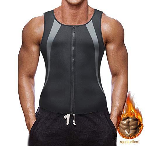 Elwow - Canottiera da uomo per sauna e fitness, con chiusura lampo, colore: Nero grigio, L