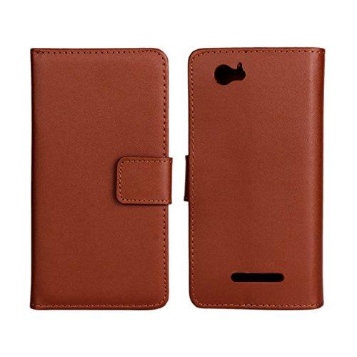UKDANDANWEI Sony Xperia M Hülle - Book-Style Wallet Case Flip Cover Etui Tasche Case mit Standfunktion Für Sony Xperia M C1904 C1905 Braun