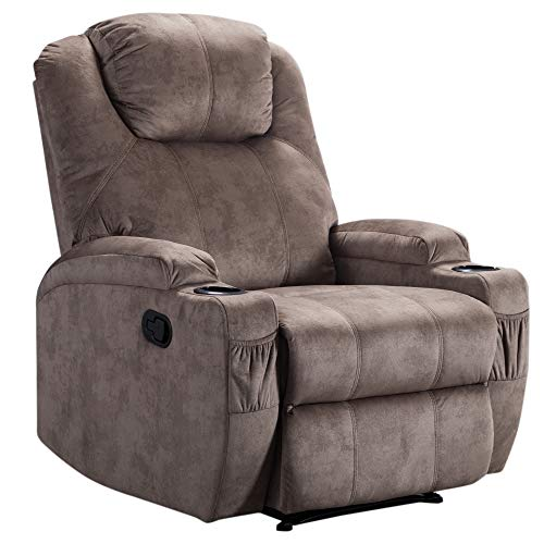 Merax Recliner Chair Lazy Sofa, Manual Ergonomic Design with 2 Cup Holders for Living Room, Camel