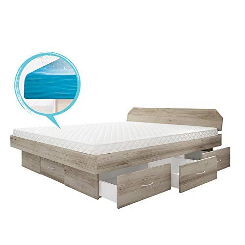 bellvita Wasserbett silverline mit Soft-Close Schubladensockel & Bettumrandung inkl. Lieferung & Aufbau durch Fachpersonal (180 x 200 cm, Sonoma Eiche)