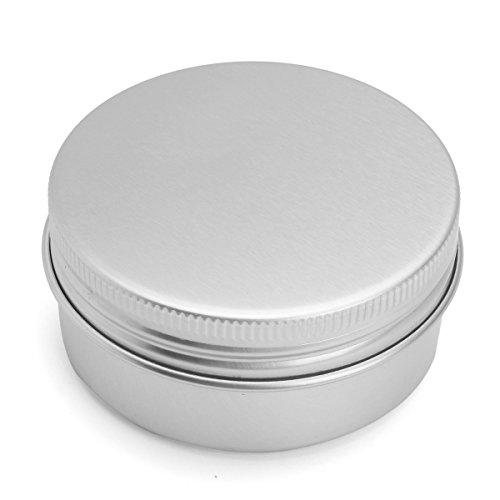 ILS - 24 piezas 50G Aluminum Round Empty Jar Tin Screw Top Lid Cosmetic Sample Storage Container