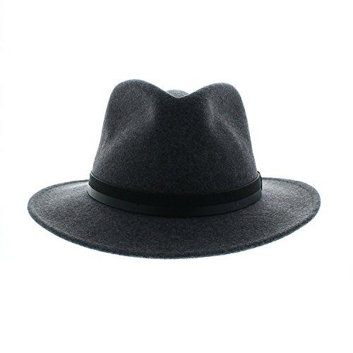 Votrechapeau - Feutre de Laine - Chapeau Fedora Pliable - Come - Gris - Tour de tête 58