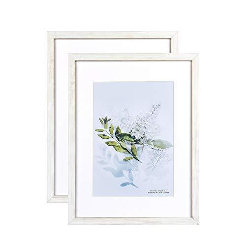 Home&Me 100% Echtholz Bilderrahmen Vintage Weiß 30x40cm 2er Set -mit Passepartout 21x30 cm (A4), Fotorahmen mit Echtglas für Zertifikat zum aufhängen