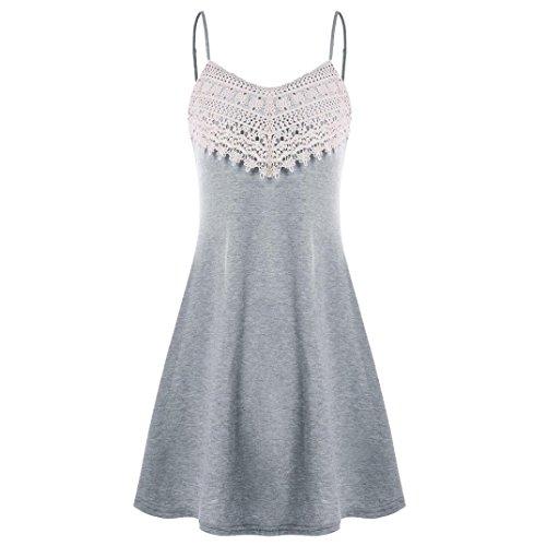 ESAILQ Damen Kleider Damen Rockabilly Kleid Elegante Kleider Lange Kleider Frauen Sommer (S,Grau)