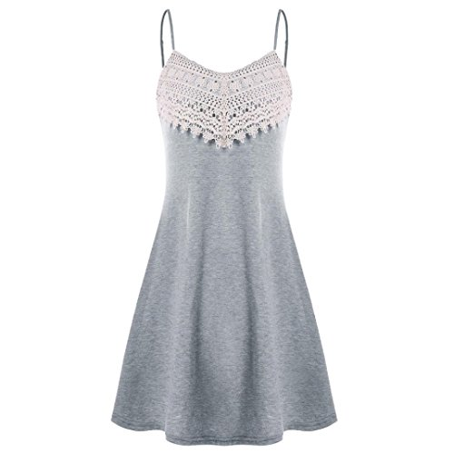 ESAILQ Damen Elegant V-Ausschnitt Ärmellos Lang Abendkleid(M,Grau)