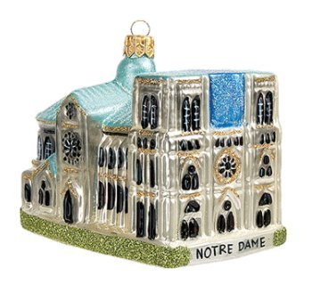 France Souvenir Notre Dame Cathedral Paris Travel Polish Glass Christmas Tree Ornament Gift