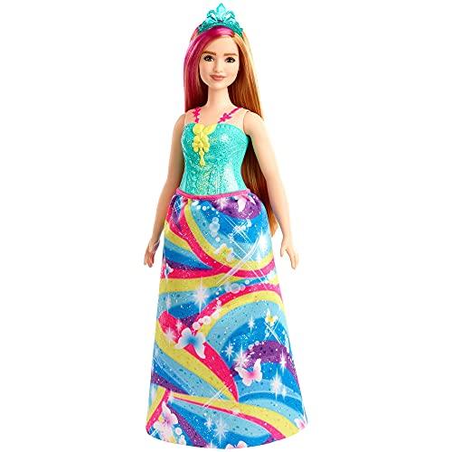 Barbie - Dreamtopia Muñeca Hada con Top Azul y Falda Arcoiris, Curvy...