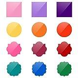 Demine 12 círculos coloridos de borrado en seco con diferentes formas, pizarra blanca de borrado en seco, marcadores de pared para aula, oficina, hogar