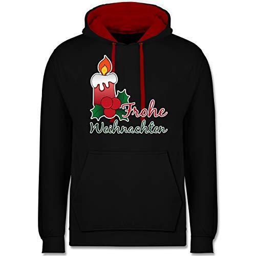 Weihnachten & Silvester - Frohe Weihnachten mit Kerze und Mistelzweig - XXL - Schwarz/Rot - Statement - JH003 - Hoodie zweifarbig und Kapuzenpullover für Herren und Damen