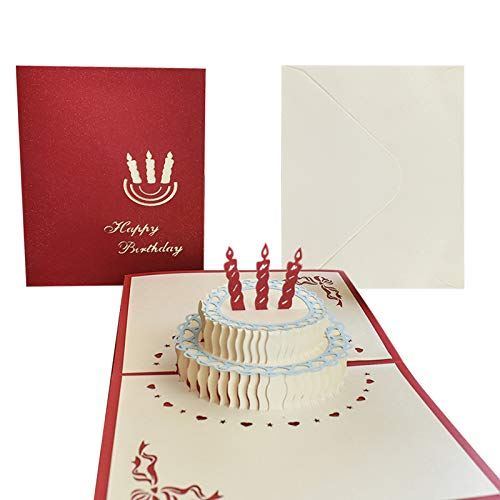 Greeting Cards Birthday, 3D Pop-up Happy Birthday Card, 2 Layers Birthday Cake with Candle Greeting Card for Her, Women, Men and Kids (Included Envelope, 5' x 6')