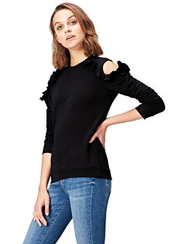 find. Sweatshirt Damen mit Off-Shoulder-Design und Rüschen, Schwarz (Black), 38 (Herstellergröße: Medium)