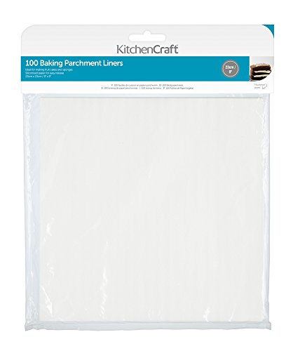 Kitchen Craft Anti-adhésif sulfurisé Papier sulfurisé 23 cm (22,9 cm) – Carré (Lot de 100), Papier, Blanc, 23 x 23 x 0.1 cm