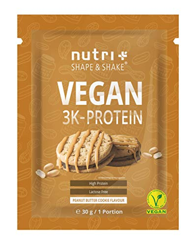 PROTEIN PROBE VEGAN Erdnussbutter Cookie 30g - 80,8{1115f03b8f236171c1fd1381948383985d12e4184c73bae21af66a0104046183} Eiweiß - 3k-Proteinpulver Peanutbutter Cookie - laktosefreies Eiweißpulver Low Sugar - Nutri-Plus Shape & Shake