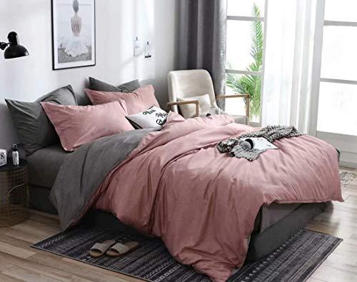 N/C Texture Pink Grey Reversible Duvet Cover Set Single Size Modern Solid Color Bedding Set Microfiber Plain Duvet Cover Single Bed, 1 Duvet Cover 135x200cm + 1 Pillowcase 50x75cm