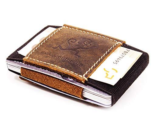 MakakaOnTheRun Portafoglio & carta caso Premium Sottile con clip denaro (412 schede) Cavallo Pazzo bovina mini per Uomini Donne piccole, borsa minimalista