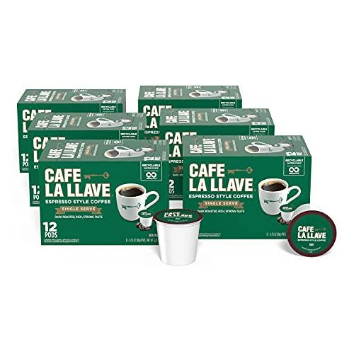 Cafe La Llave Espresso K-Cup (72 Count) Recyclable Single-Serve Coffee, Compatible with Keurig K-Cup Brewers