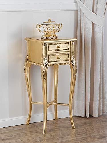 SIMONE GUARRACINO LUXURY DESIGN Beistellkommode Peter Französischer Chippendale Stil 2 Schubladen Blattgold