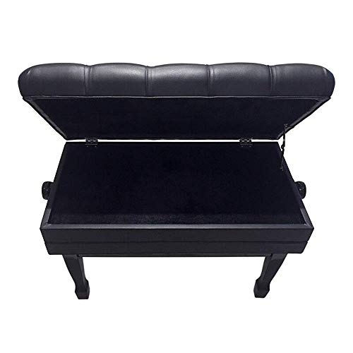 YWAWJ Durable Klavierhocker Einzel Doppel Massivholzlack Aufzug mit Bücherregal Electric Piano Chair Keyboardbank mit Lagerung