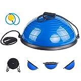 ISE Balance Trainer Fitball Bola de Equilibrio para Entrenamiento, ym Media Bola Ø 58cm, Pelota Balón Semiesfera de Gimnasia Pilates con Cables y Inflador para Yoga y Fitness, Azul SY-BAS1001