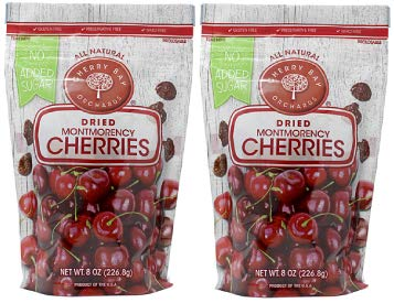 Cherry Bay Orchards - Dried Montmorency Tart Cherries - No Added Sugar - (Pack of Two 8oz Bags (1LB) -100% Domestic, Natural, Kosher Certified, Gluten-Free, and GMO Free - Packed in a Resealable Pouch